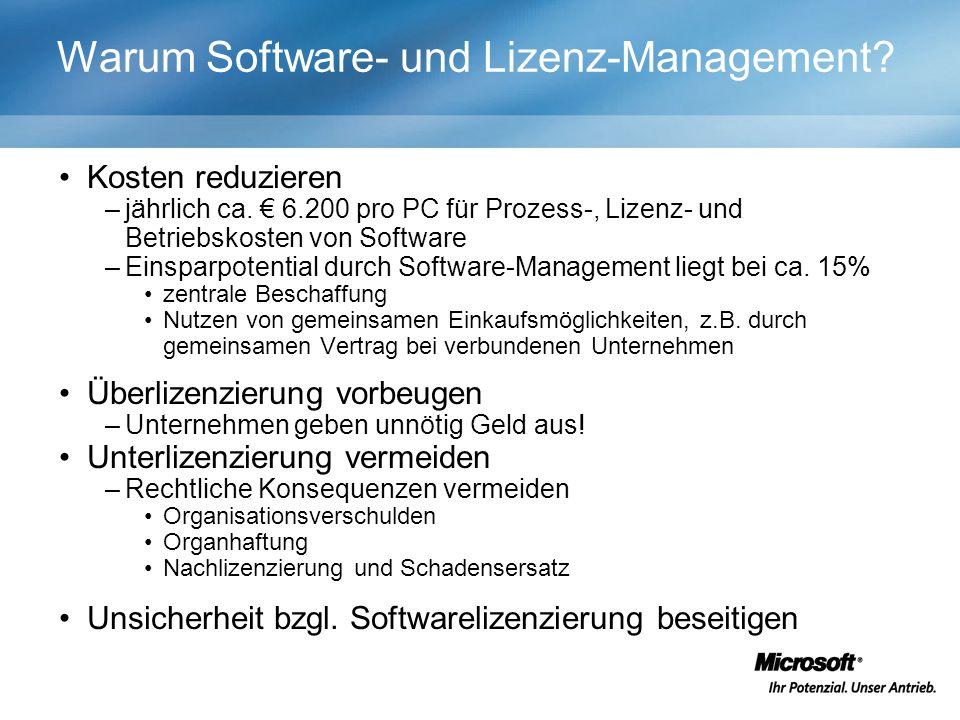 Warum Software- und Lizenz-Management. Kosten reduzieren –jährlich ca.