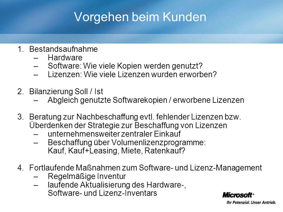 Vorgehen beim Kunden 1.Bestandsaufnahme –Hardware –Software: Wie viele Kopien werden genutzt.