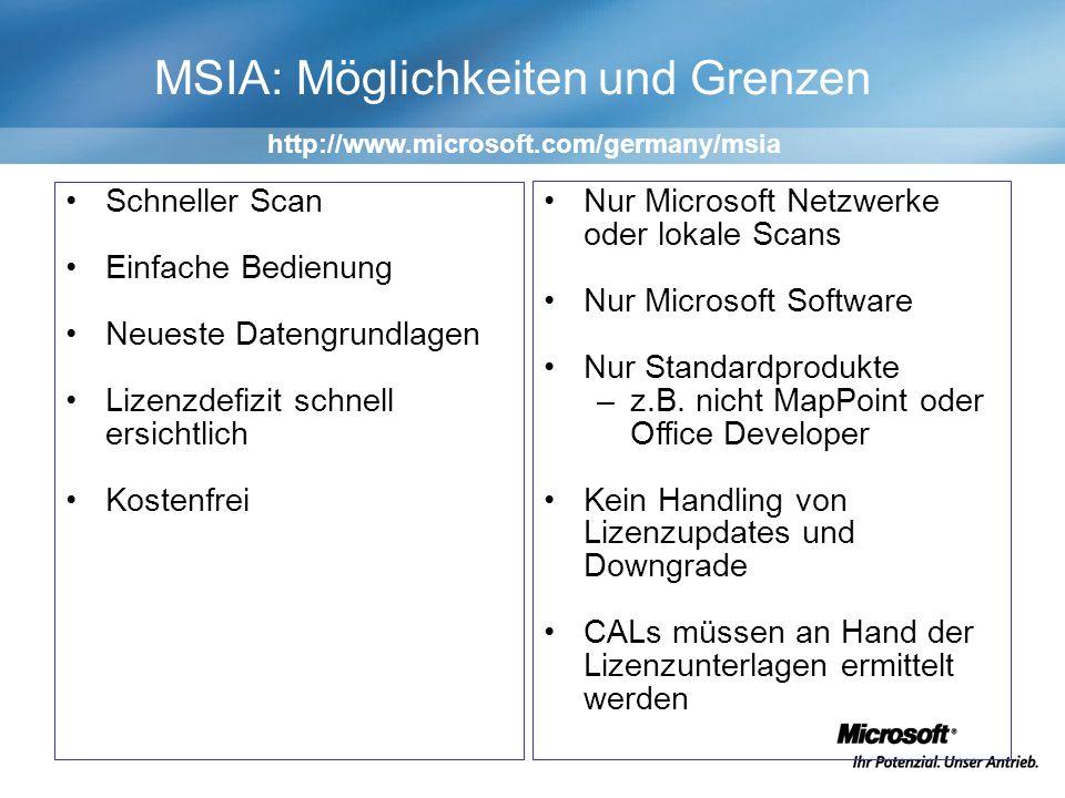 MSIA: Möglichkeiten und Grenzen Schneller Scan Einfache Bedienung Neueste Datengrundlagen Lizenzdefizit schnell ersichtlich Kostenfrei Nur Microsoft Netzwerke oder lokale Scans Nur Microsoft Software Nur Standardprodukte –z.B.