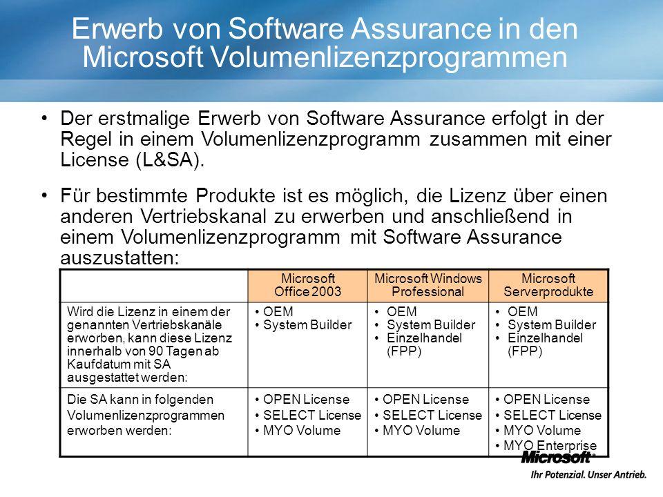 Erwerb von Software Assurance in den Microsoft Volumenlizenzprogrammen Der erstmalige Erwerb von Software Assurance erfolgt in der Regel in einem Volumenlizenzprogramm zusammen mit einer License (L&SA).