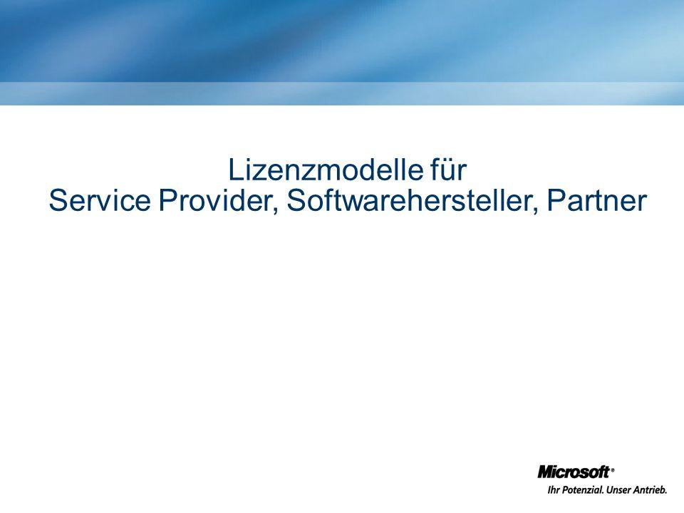 Lizenzmodelle für Service Provider, Softwarehersteller, Partner