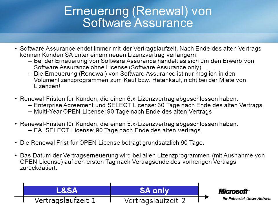 Erneuerung (Renewal) von Software Assurance Software Assurance endet immer mit der Vertragslaufzeit.