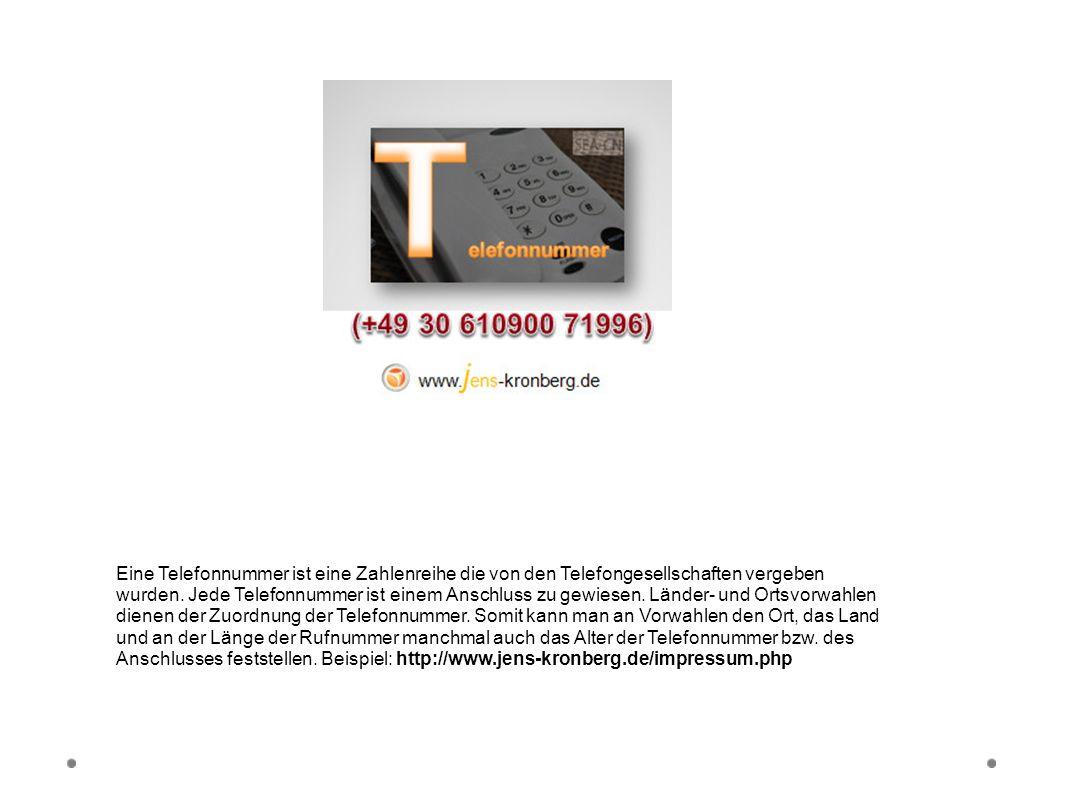 Telefonnummer Eine Telefonnummer ist eine Zahlenreihe die von den Telefongesellschaften vergeben wurden. Jede Telefonnummer ist einem Anschluss zu gew