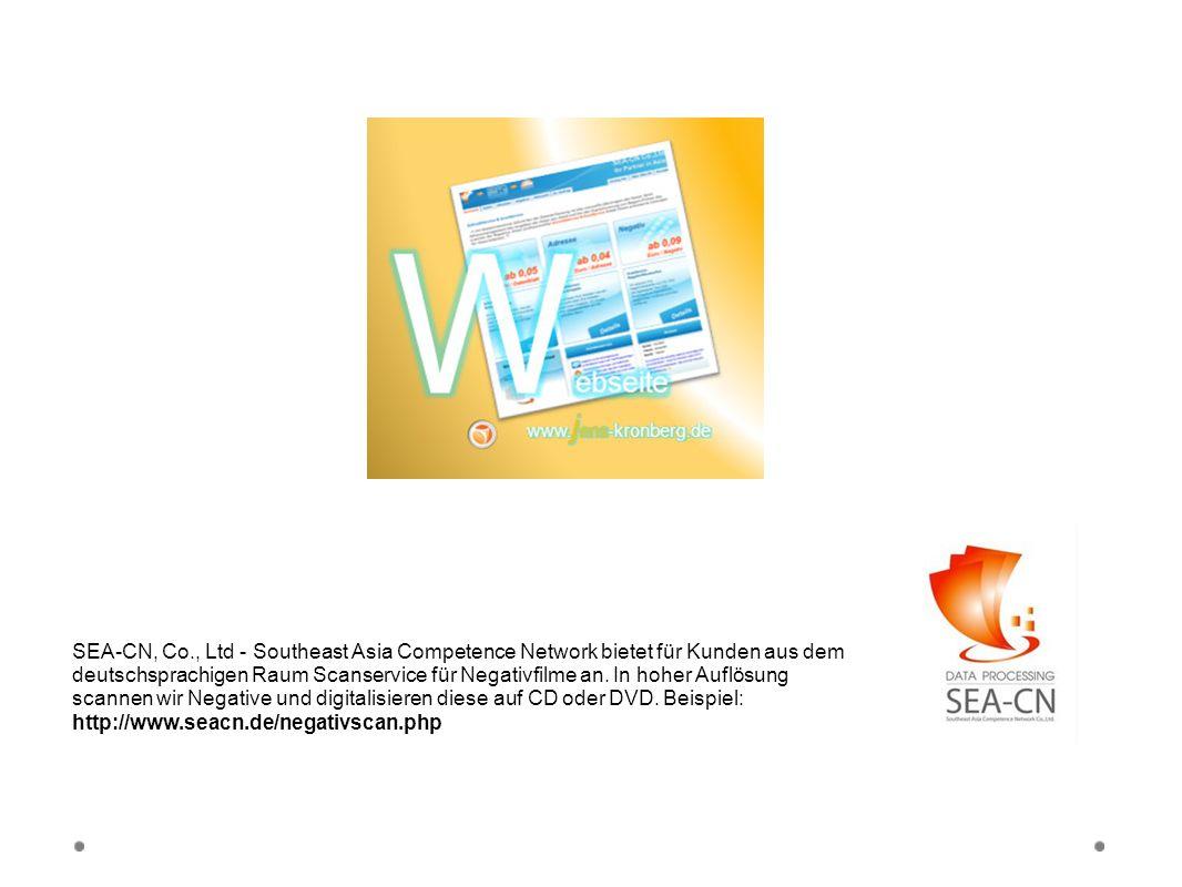 Webseite SEA-CN Co., Ltd. SEA-CN, Co., Ltd - Southeast Asia Competence Network bietet für Kunden aus dem deutschsprachigen Raum Scanservice für Negati
