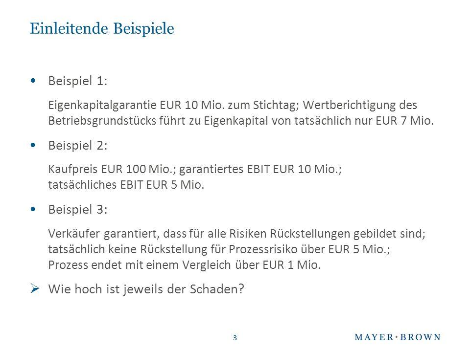 3 Einleitende Beispiele Beispiel 1: Eigenkapitalgarantie EUR 10 Mio. zum Stichtag; Wertberichtigung des Betriebsgrundstücks führt zu Eigenkapital von