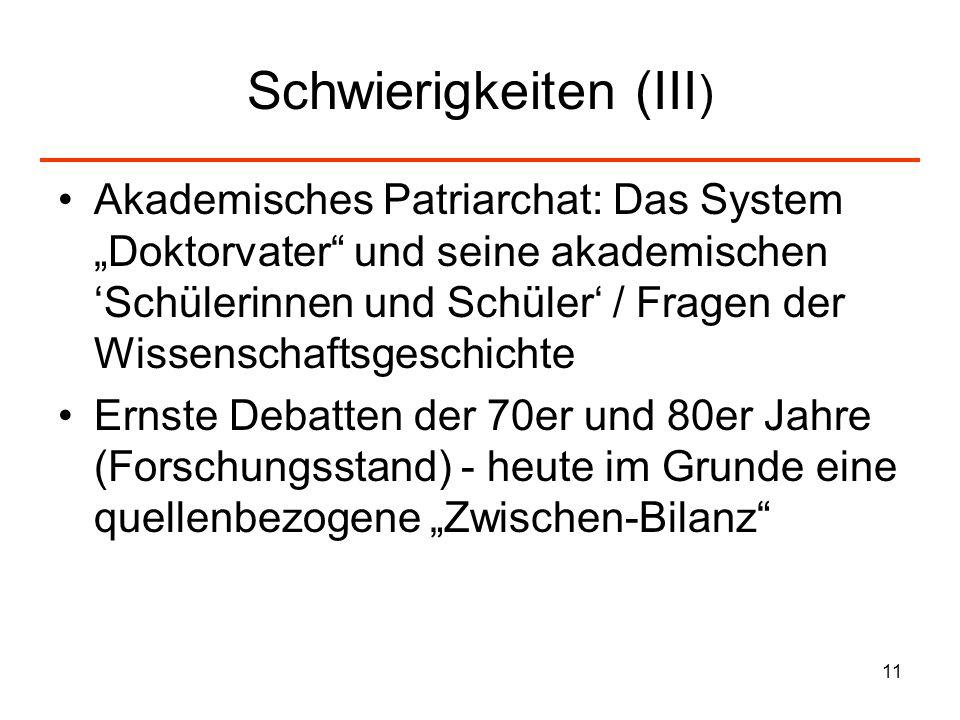 11 Schwierigkeiten (III ) Akademisches Patriarchat: Das System Doktorvater und seine akademischen Schülerinnen und Schüler / Fragen der Wissenschaftsg