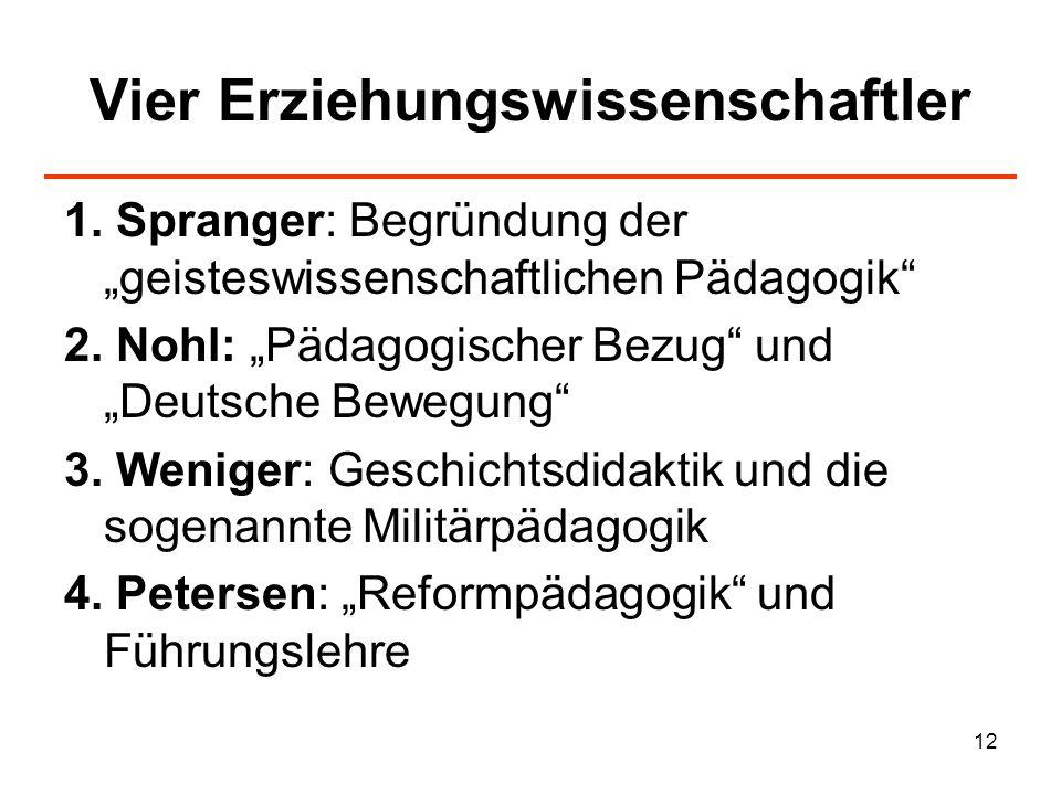 12 Vier Erziehungswissenschaftler 1. Spranger: Begründung der geisteswissenschaftlichen Pädagogik 2. Nohl: Pädagogischer Bezug und Deutsche Bewegung 3