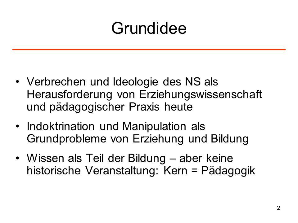 2 Grundidee Verbrechen und Ideologie des NS als Herausforderung von Erziehungswissenschaft und pädagogischer Praxis heute Indoktrination und Manipulat