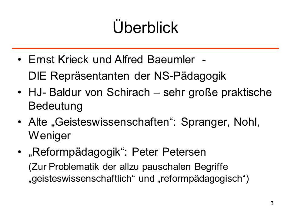 3 Überblick Ernst Krieck und Alfred Baeumler - DIE Repräsentanten der NS-Pädagogik HJ- Baldur von Schirach – sehr große praktische Bedeutung Alte Geis