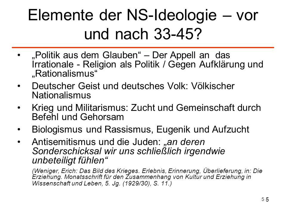 5 5 Elemente der NS-Ideologie – vor und nach 33-45? Politik aus dem Glauben – Der Appell an das Irrationale - Religion als Politik / Gegen Aufklärung