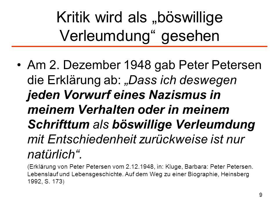 9 Kritik wird als böswillige Verleumdung gesehen Am 2. Dezember 1948 gab Peter Petersen die Erklärung ab: Dass ich deswegen jeden Vorwurf eines Nazism