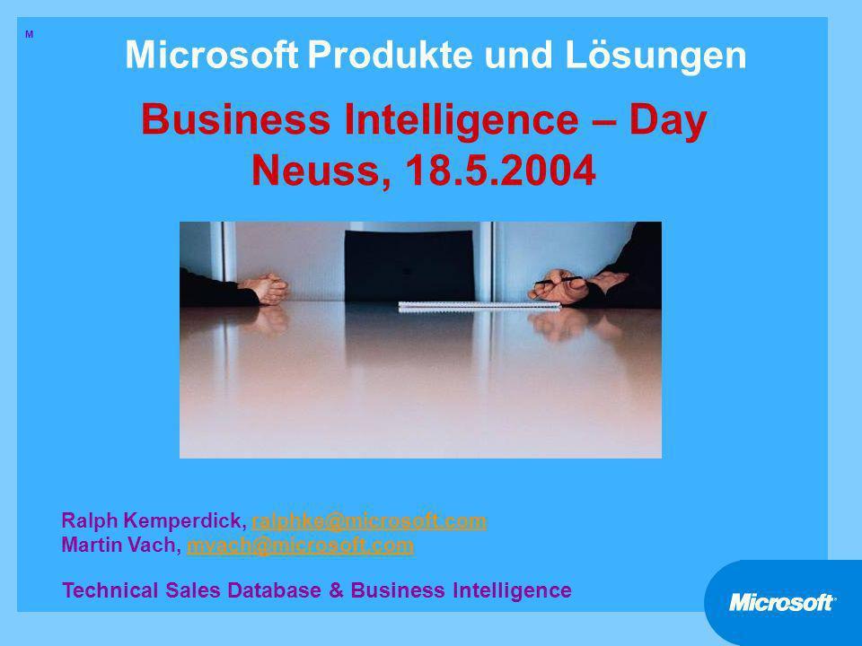 12 Microsoft BI-Day Vormittag Teil 1 Integration in die bestehende Datenbank-Umgebung Mainframe DB2 MVS, VSAM, CICS/IMS SQL/400 Oracle (AIX/WIN) MS SQL Server DTS DB2 (AIX/WIN) Microsoft Host Integration Server andere