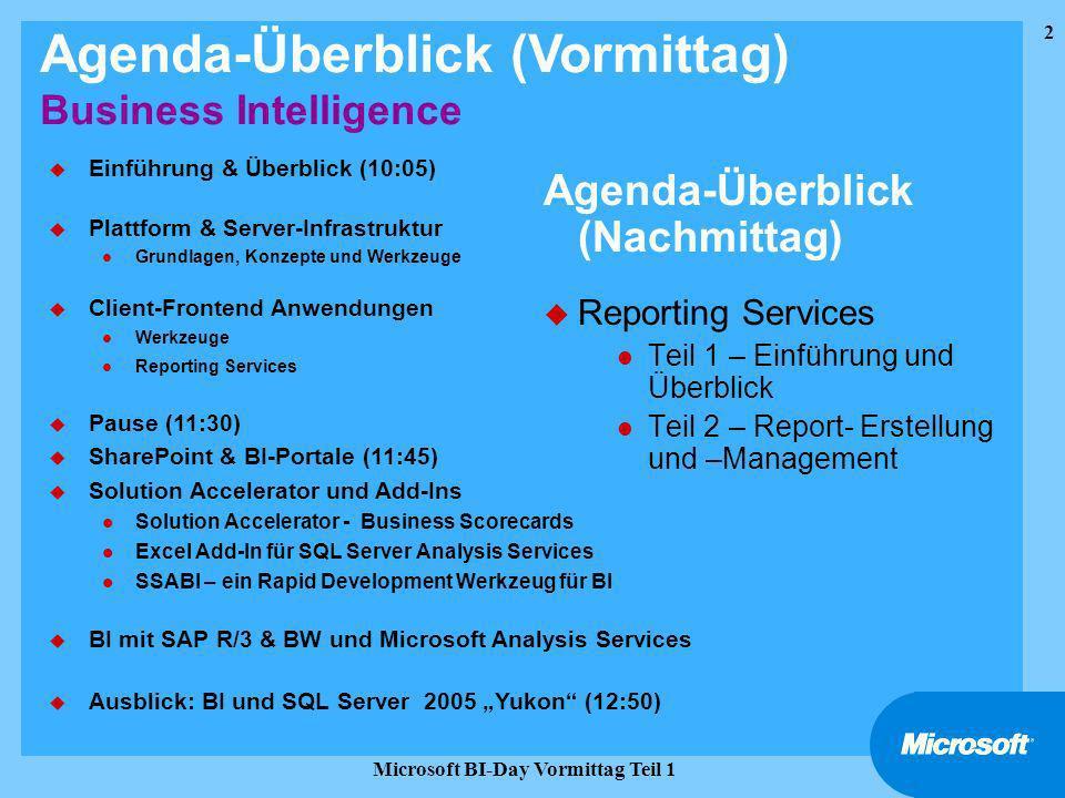 3 Microsoft BI-Day Vormittag Teil 1 Business Intelligence & Datawarehousing Einführung Problemstellung Agenda