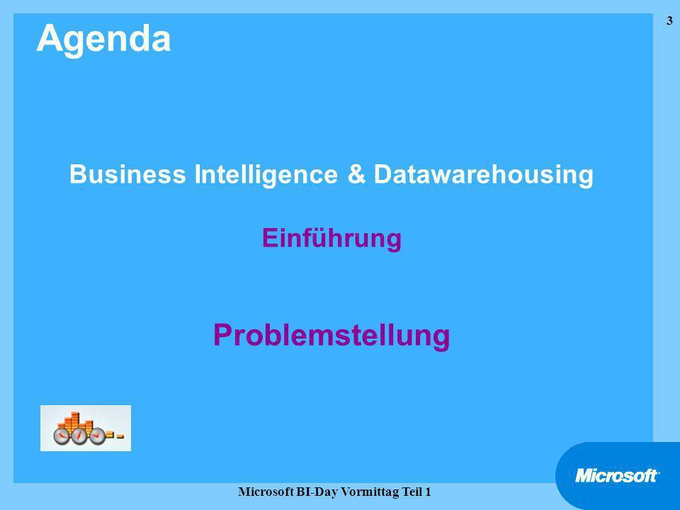 24 Microsoft BI-Day Vormittag Teil 1 Grundlagen, Konzepte, Werkzeuge Serverseitige Tools im Überblick Agenda Business Intelligence, Datawarehousing, OLAP