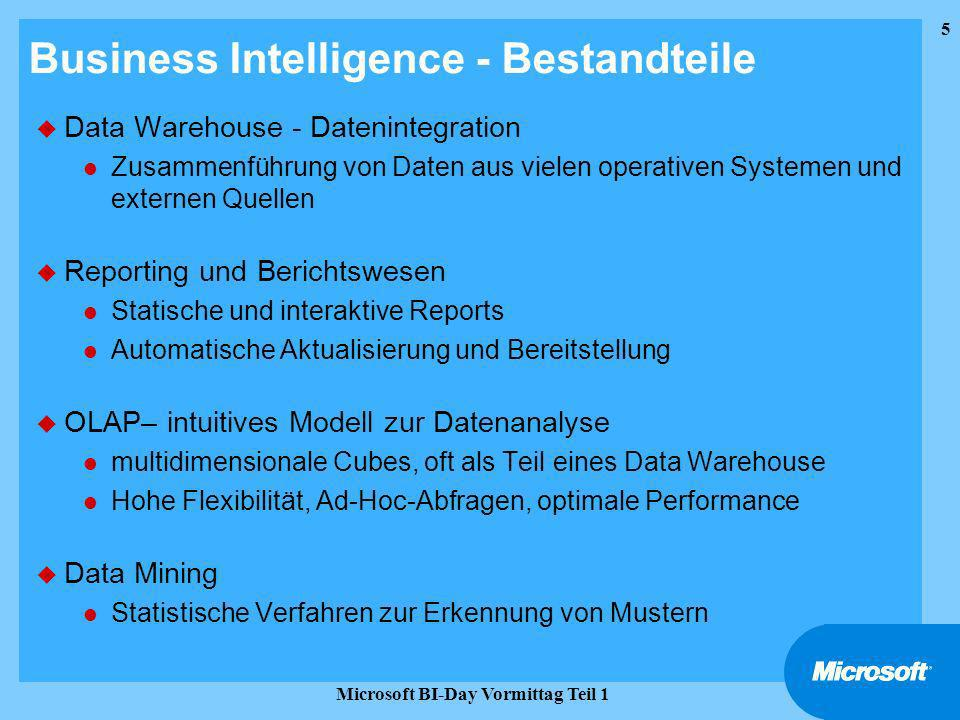 6 Microsoft BI-Day Vormittag Teil 1 Einführung Microsofts Business Intelligence & Datawarehouse Strategie Agenda Business Intelligence, Datawarehousing, OLAP