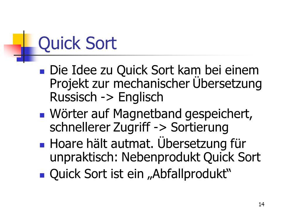 14 Quick Sort Die Idee zu Quick Sort kam bei einem Projekt zur mechanischer Übersetzung Russisch -> Englisch Wörter auf Magnetband gespeichert, schnel