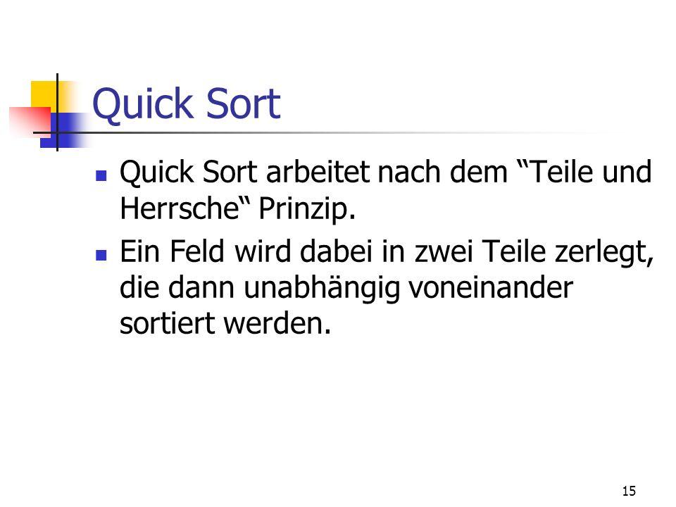 15 Quick Sort Quick Sort arbeitet nach dem Teile und Herrsche Prinzip. Ein Feld wird dabei in zwei Teile zerlegt, die dann unabhängig voneinander sort