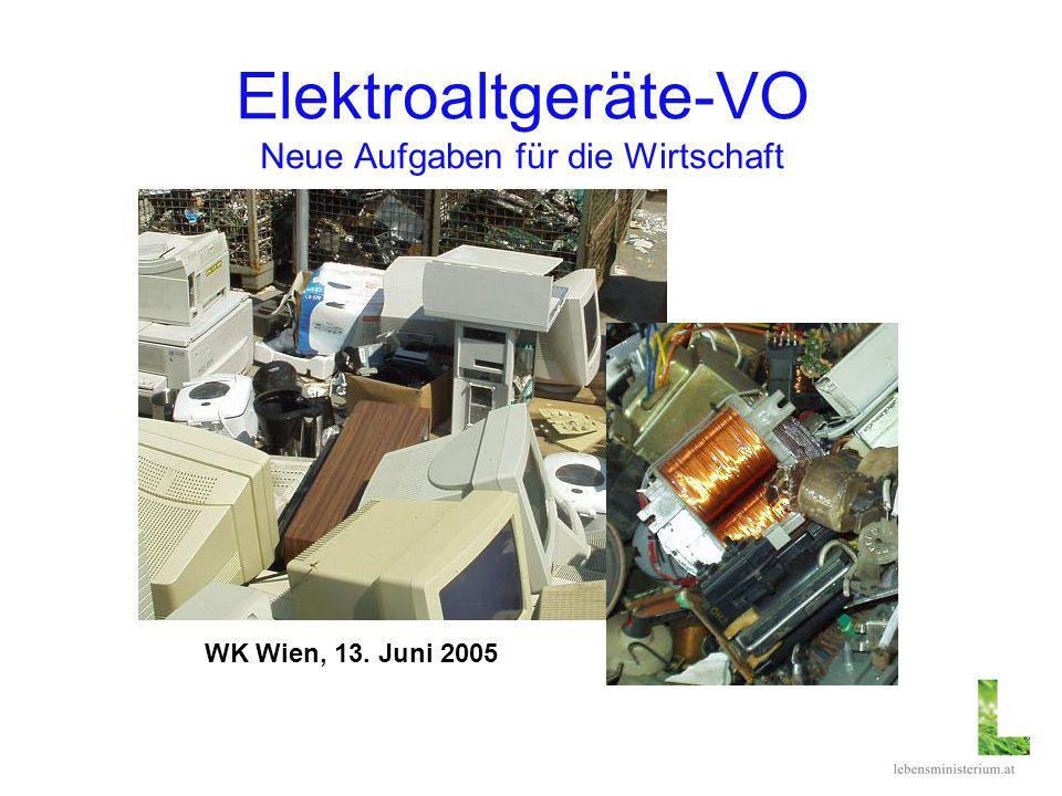 Elektroaltgeräte-VO Neue Aufgaben für die Wirtschaft WK Wien, 13. Juni 2005