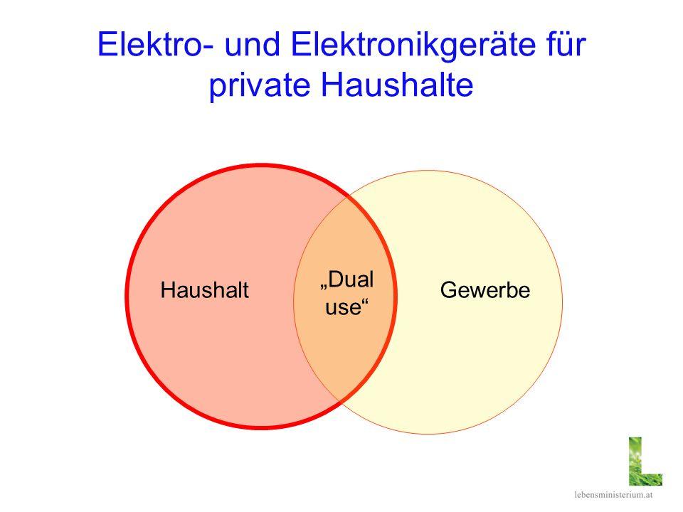 Elektro- und Elektronikgeräte für private Haushalte HaushaltGewerbe Dual use