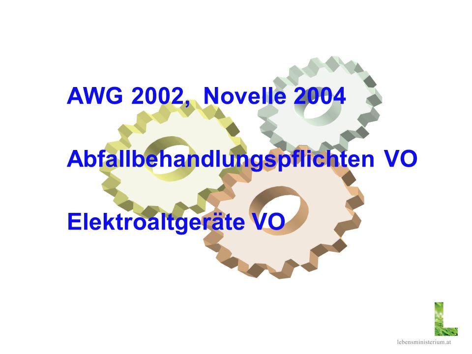 AWG 2002, Novelle 2004 Abfallbehandlungspflichten VO Elektroaltgeräte VO