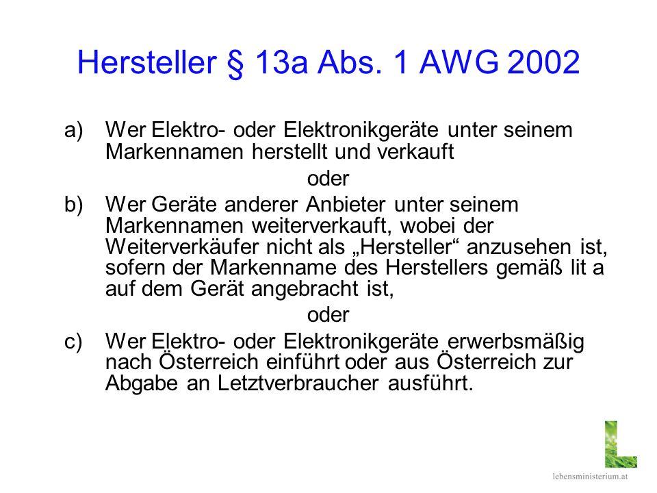 Hersteller § 13a Abs. 1 AWG 2002 a)Wer Elektro oder Elektronikgeräte unter seinem Markennamen herstellt und verkauft oder b)Wer Geräte anderer Anbiete