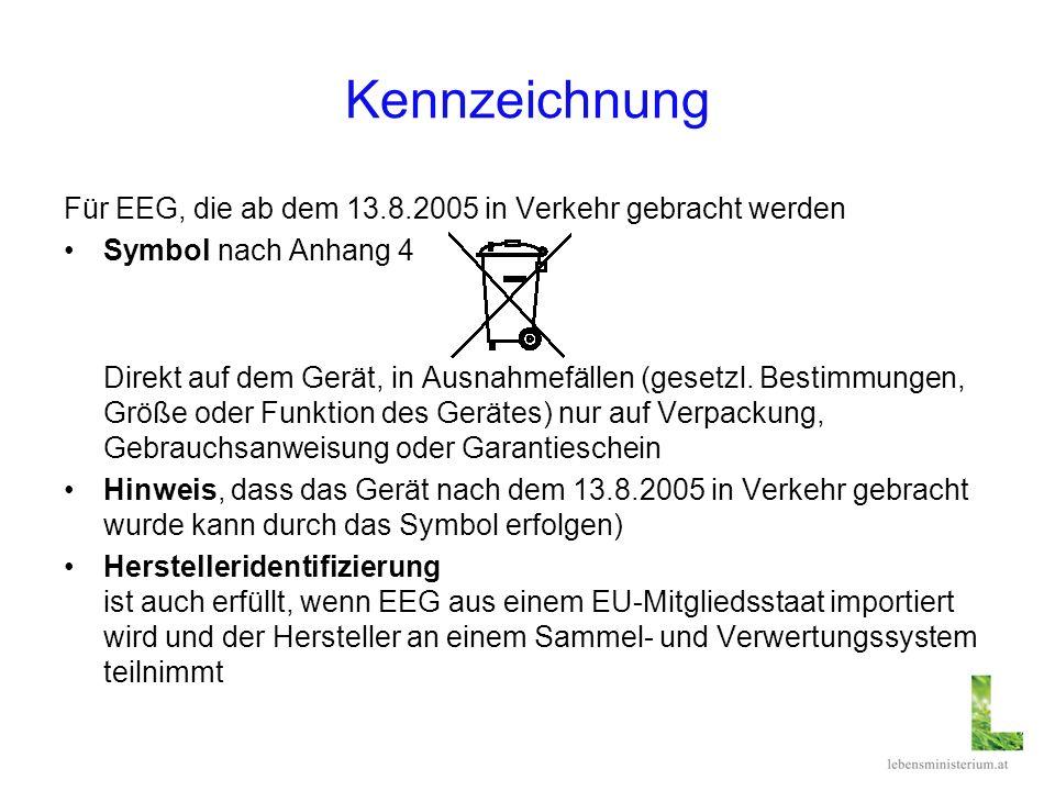 Kennzeichnung Für EEG, die ab dem 13.8.2005 in Verkehr gebracht werden Symbol nach Anhang 4 Direkt auf dem Gerät, in Ausnahmefällen (gesetzl. Bestimmu