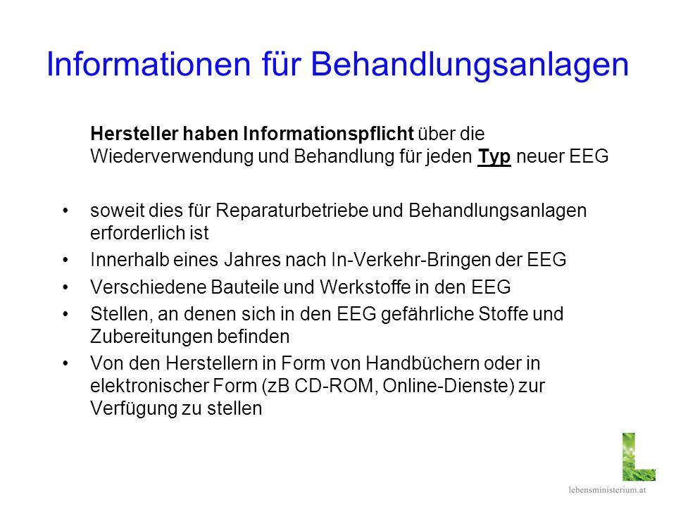 Informationen für Behandlungsanlagen Hersteller haben Informationspflicht über die Wiederverwendung und Behandlung für jeden Typ neuer EEG soweit dies