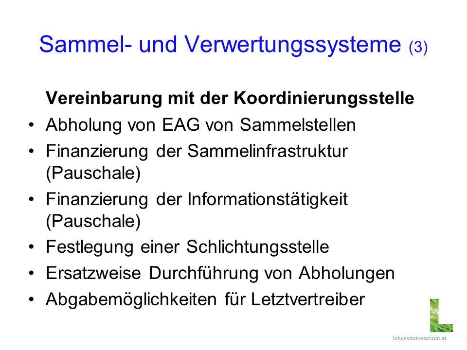Sammel- und Verwertungssysteme (3) Vereinbarung mit der Koordinierungsstelle Abholung von EAG von Sammelstellen Finanzierung der Sammelinfrastruktur (