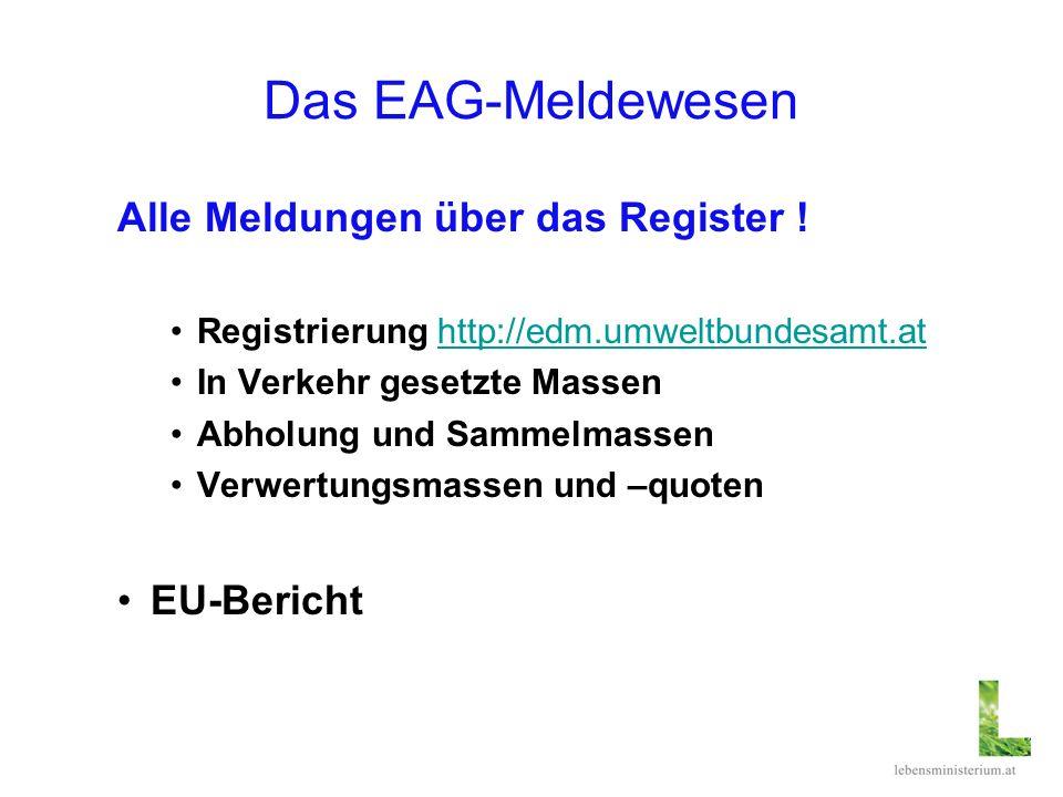 Das EAG-Meldewesen Alle Meldungen über das Register ! Registrierung http://edm.umweltbundesamt.athttp://edm.umweltbundesamt.at In Verkehr gesetzte Mas