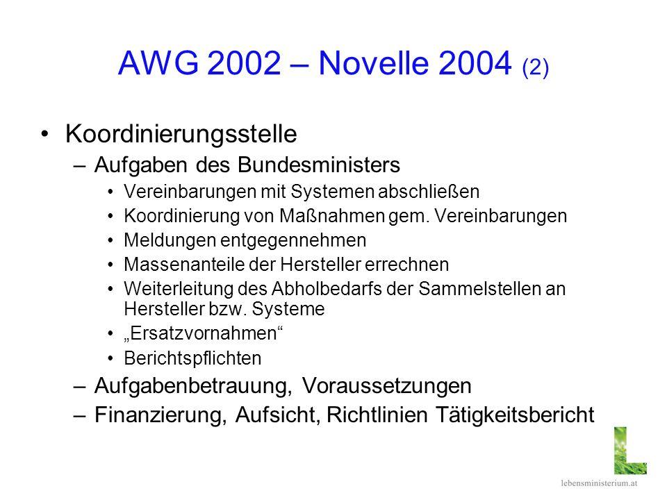 AWG 2002 – Novelle 2004 (2) Koordinierungsstelle –Aufgaben des Bundesministers Vereinbarungen mit Systemen abschließen Koordinierung von Maßnahmen gem