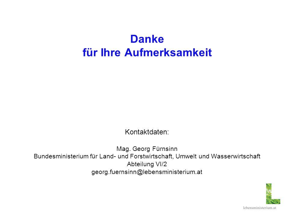 Danke für Ihre Aufmerksamkeit Kontaktdaten: Mag. Georg Fürnsinn Bundesministerium für Land- und Forstwirtschaft, Umwelt und Wasserwirtschaft Abteilung