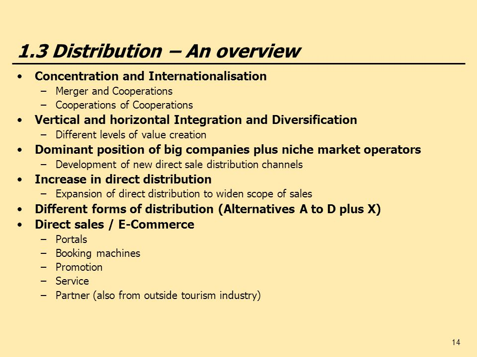 14 1.3 Distribution – An overview Concentration and Internationalisation –Merger and Cooperations –Cooperations of Cooperations Vertical and horizonta