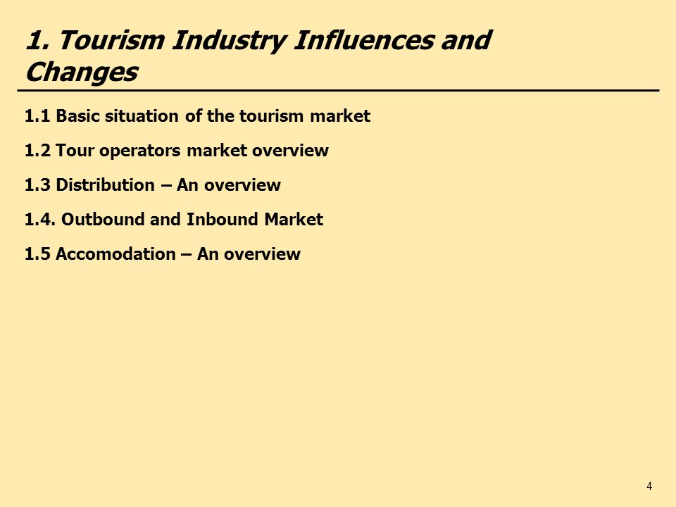 25 2. Tour Operator Management – Strategic Approaches