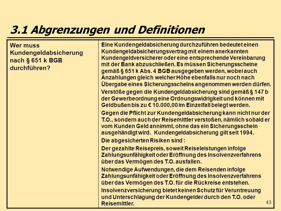 43 3.1 Abgrenzungen und Definitionen Wer muss Kundengeldabsicherung nach § 651 k BGB durchführen? Eine Kundengeldabsicherung durchzuführen bedeutet ei