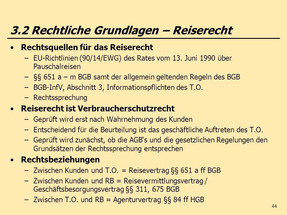 44 3.2 Rechtliche Grundlagen – Reiserecht Rechtsquellen für das Reiserecht –EU-Richtlinien (90/14/EWG) des Rates vom 13. Juni 1990 über Pauschalreisen