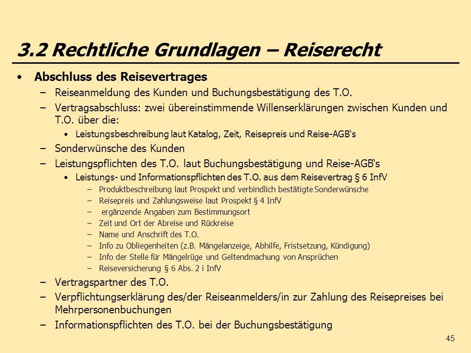 45 3.2 Rechtliche Grundlagen – Reiserecht Abschluss des Reisevertrages –Reiseanmeldung des Kunden und Buchungsbestätigung des T.O. –Vertragsabschluss: