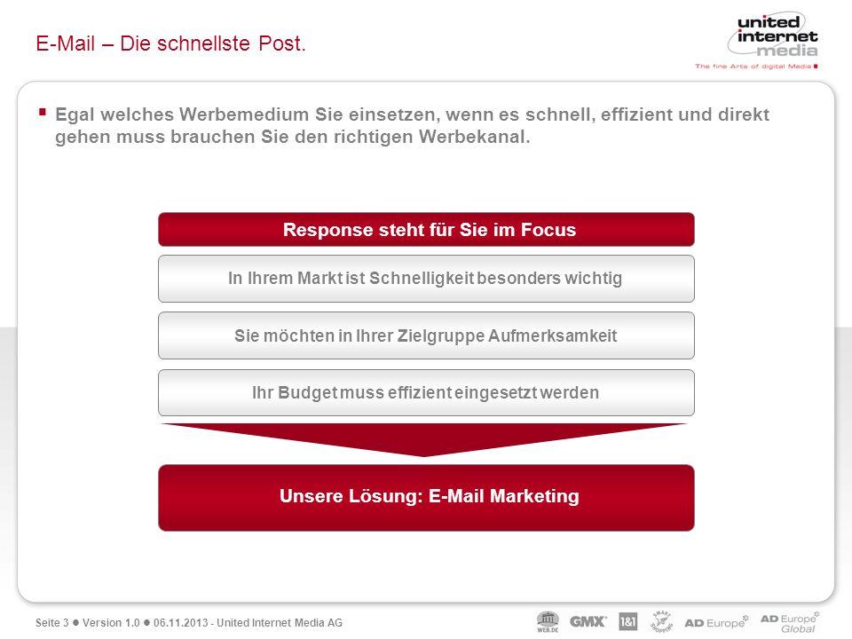 Seite 3 Version 1.0 06.11.2013 - United Internet Media AG E-Mail – Die schnellste Post. Egal welches Werbemedium Sie einsetzen, wenn es schnell, effiz