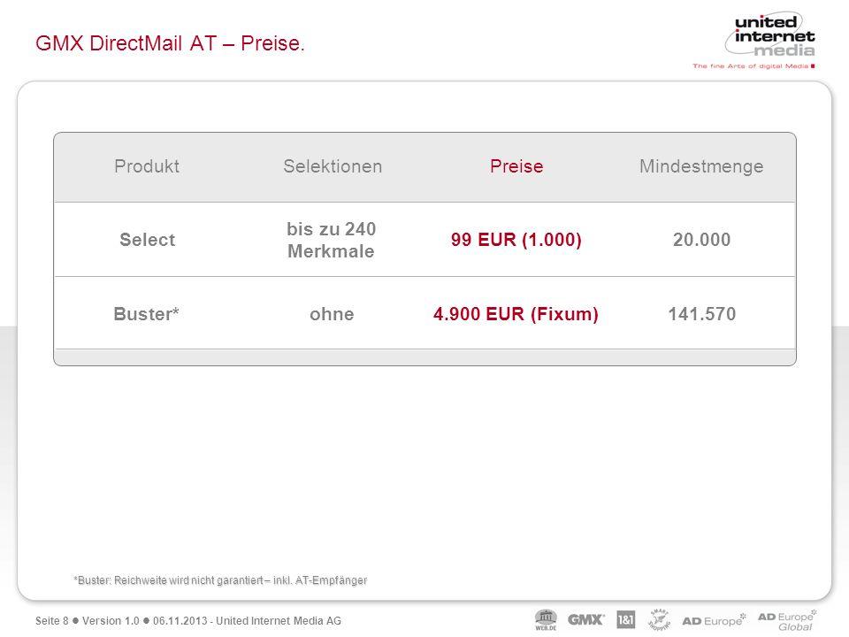 Seite 8 Version 1.0 06.11.2013 - United Internet Media AG GMX DirectMail AT – Preise. 141.5704.900 EUR (Fixum)ohneBuster* 20.00099 EUR (1.000) bis zu