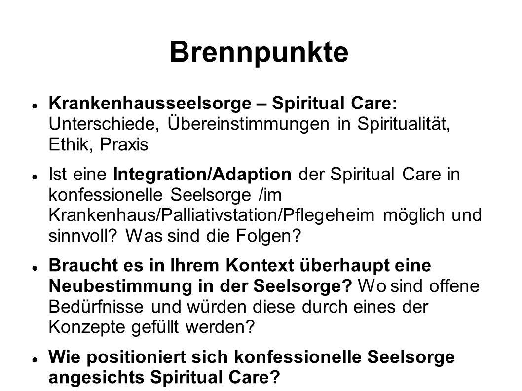 Brennpunkte Krankenhausseelsorge – Spiritual Care: Unterschiede, Übereinstimmungen in Spiritualität, Ethik, Praxis Ist eine Integration/Adaption der S