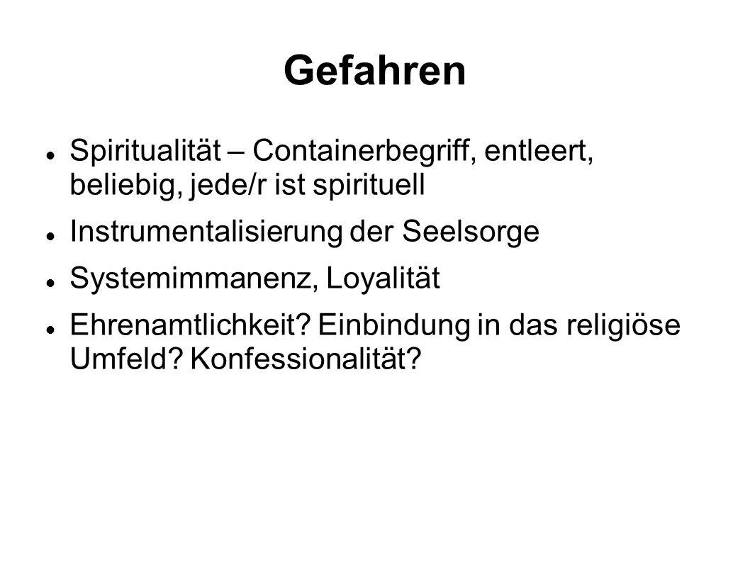 Gefahren Spiritualität – Containerbegriff, entleert, beliebig, jede/r ist spirituell Instrumentalisierung der Seelsorge Systemimmanenz, Loyalität Ehre