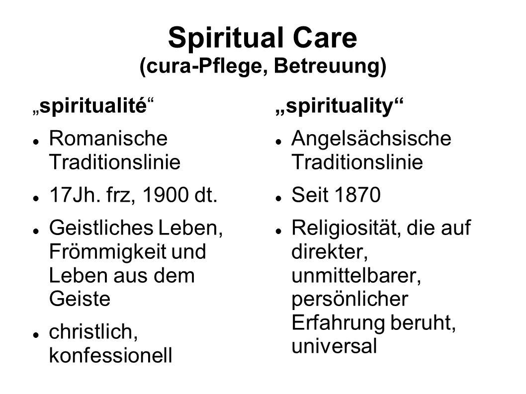Spiritual Care (cura-Pflege, Betreuung) spiritualité Romanische Traditionslinie 17Jh. frz, 1900 dt. Geistliches Leben, Frömmigkeit und Leben aus dem G