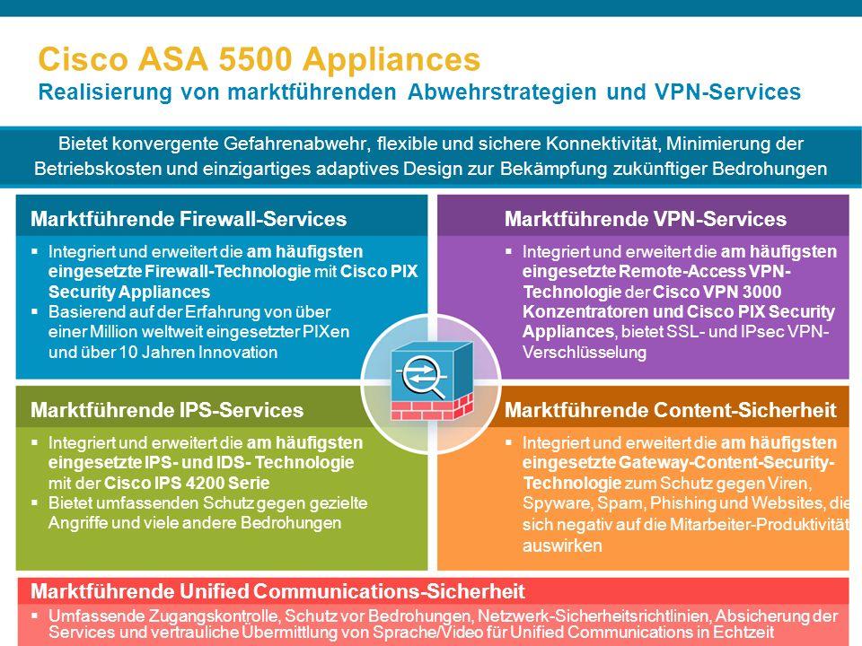 Cisco ASA 5500 Appliances Realisierung von marktführenden Abwehrstrategien und VPN-Services Bietet konvergente Gefahrenabwehr, flexible und sichere Konnektivität, Minimierung der Betriebskosten und einzigartiges adaptives Design zur Bekämpfung zukünftiger Bedrohungen Marktführende Firewall-Services Integriert und erweitert die am häufigsten eingesetzte Firewall-Technologie mit Cisco PIX Security Appliances Basierend auf der Erfahrung von über einer Million weltweit eingesetzter PIXen und über 10 Jahren Innovation Marktführende VPN-Services Integriert und erweitert die am häufigsten eingesetzte Remote-Access VPN- Technologie der Cisco VPN 3000 Konzentratoren und Cisco PIX Security Appliances, bietet SSL- und IPsec VPN- Verschlüsselung Marktführende IPS-Services Integriert und erweitert die am häufigsten eingesetzte IPS- und IDS- Technologie mit der Cisco IPS 4200 Serie Bietet umfassenden Schutz gegen gezielte Angriffe und viele andere Bedrohungen Marktführende Content-Sicherheit Integriert und erweitert die am häufigsten eingesetzte Gateway-Content-Security- Technologie zum Schutz gegen Viren, Spyware, Spam, Phishing und Websites, die sich negativ auf die Mitarbeiter-Produktivität auswirken Marktführende Unified Communications-Sicherheit Umfassende Zugangskontrolle, Schutz vor Bedrohungen, Netzwerk-Sicherheitsrichtlinien, Absicherung der Services und vertrauliche Übermittlung von Sprache/Video für Unified Communications in Echtzeit