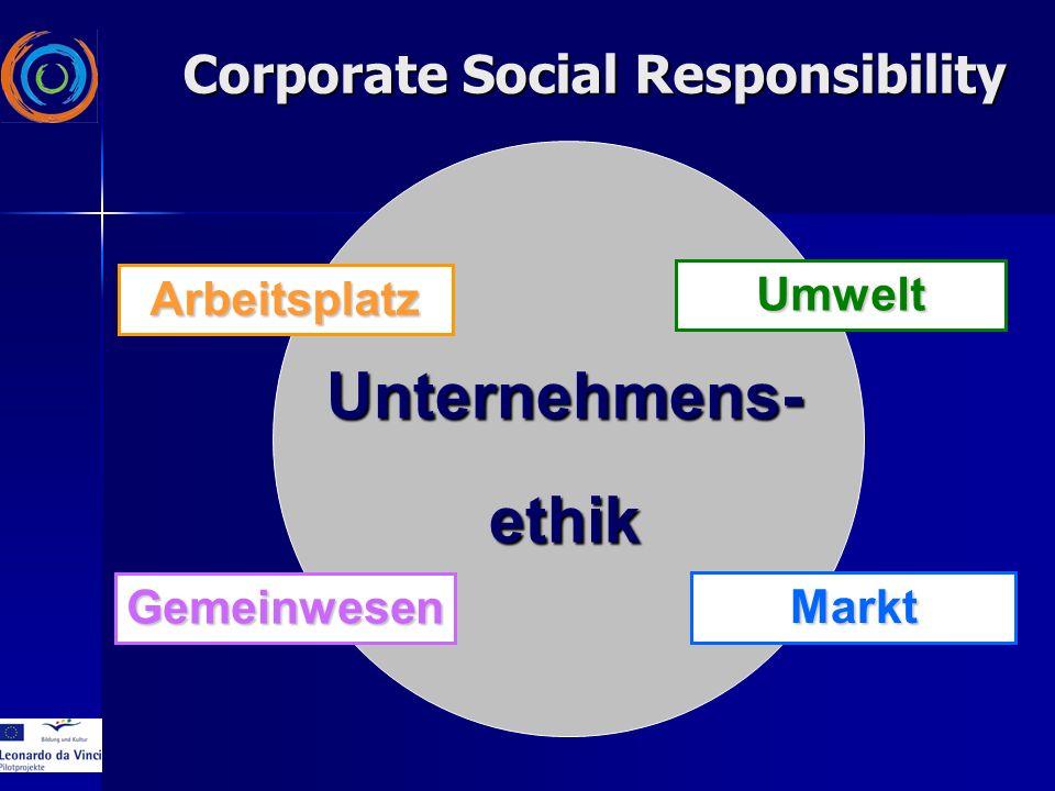 Arbeitsplatz Gemeinwesen Umwelt Markt Unternehmens-ethik