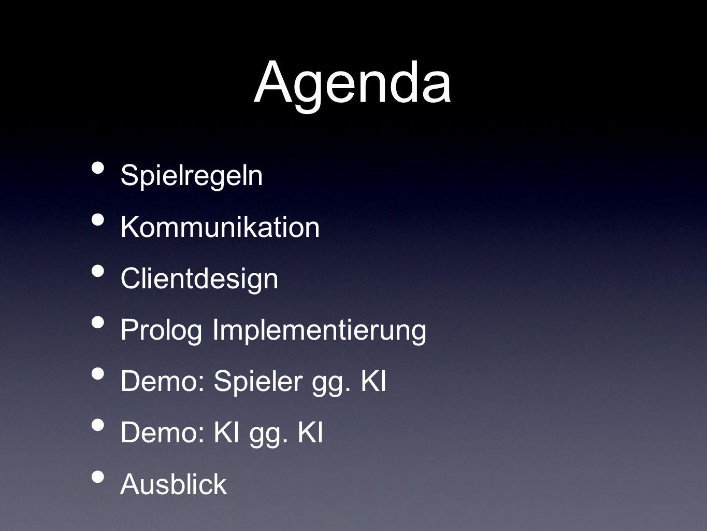 Agenda Spielregeln Kommunikation Clientdesign Prolog Implementierung Demo: Spieler gg. KI Demo: KI gg. KI Ausblick
