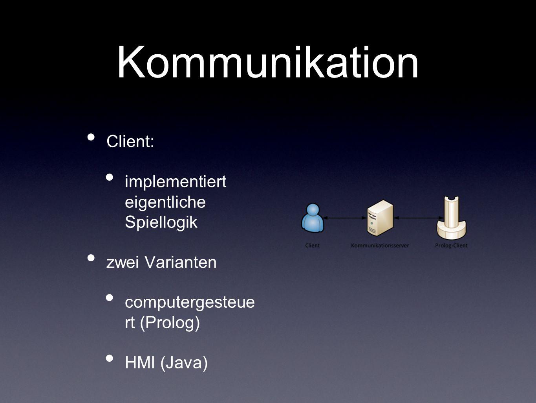 Kommunikation Nachrichtenaustausch auf Textbasis Format (OPCODE, [Param 1, Param 2, Param 3]).