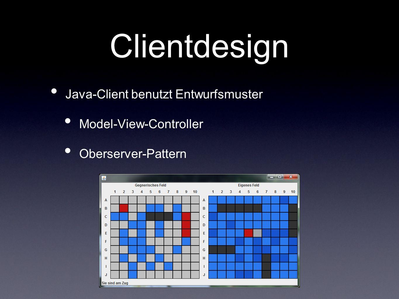 Clientdesign Java-Client benutzt Entwurfsmuster Model-View-Controller Oberserver-Pattern