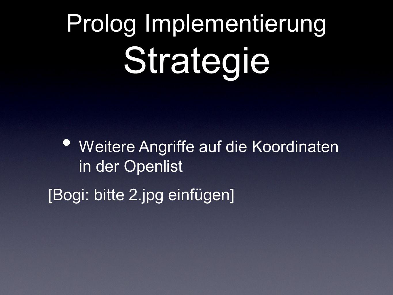 Prolog Implementierung Strategie Weitere Angriffe auf die Koordinaten in der Openlist [Bogi: bitte 2.jpg einfügen]