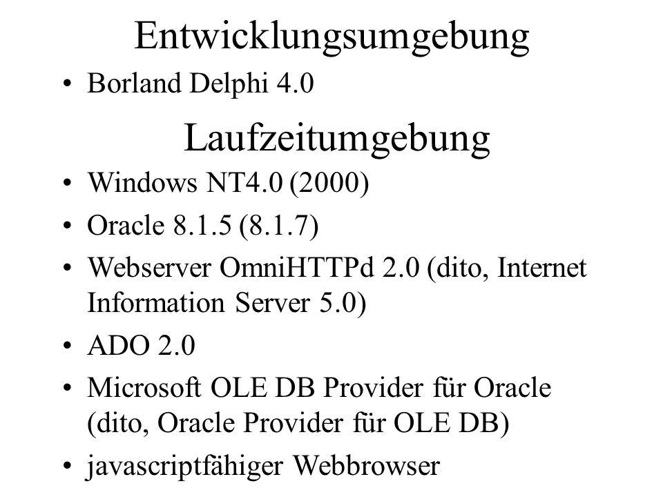 Entwicklungsumgebung Borland Delphi 4.0 Laufzeitumgebung Windows NT4.0 (2000) Oracle 8.1.5 (8.1.7) Webserver OmniHTTPd 2.0 (dito, Internet Information