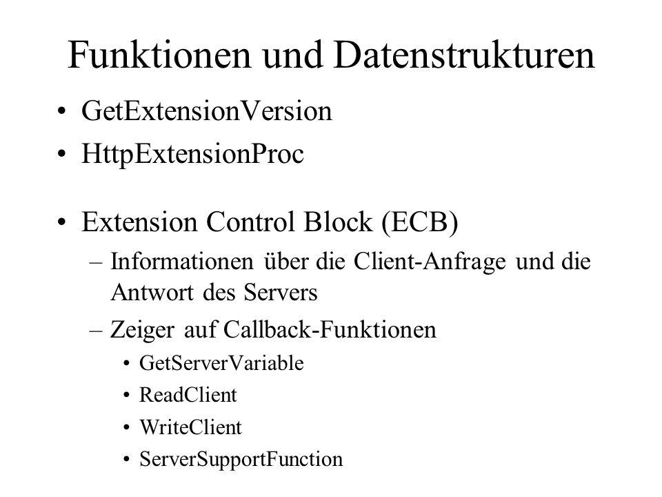 Funktionen und Datenstrukturen GetExtensionVersion HttpExtensionProc Extension Control Block (ECB) –Informationen über die Client-Anfrage und die Antw