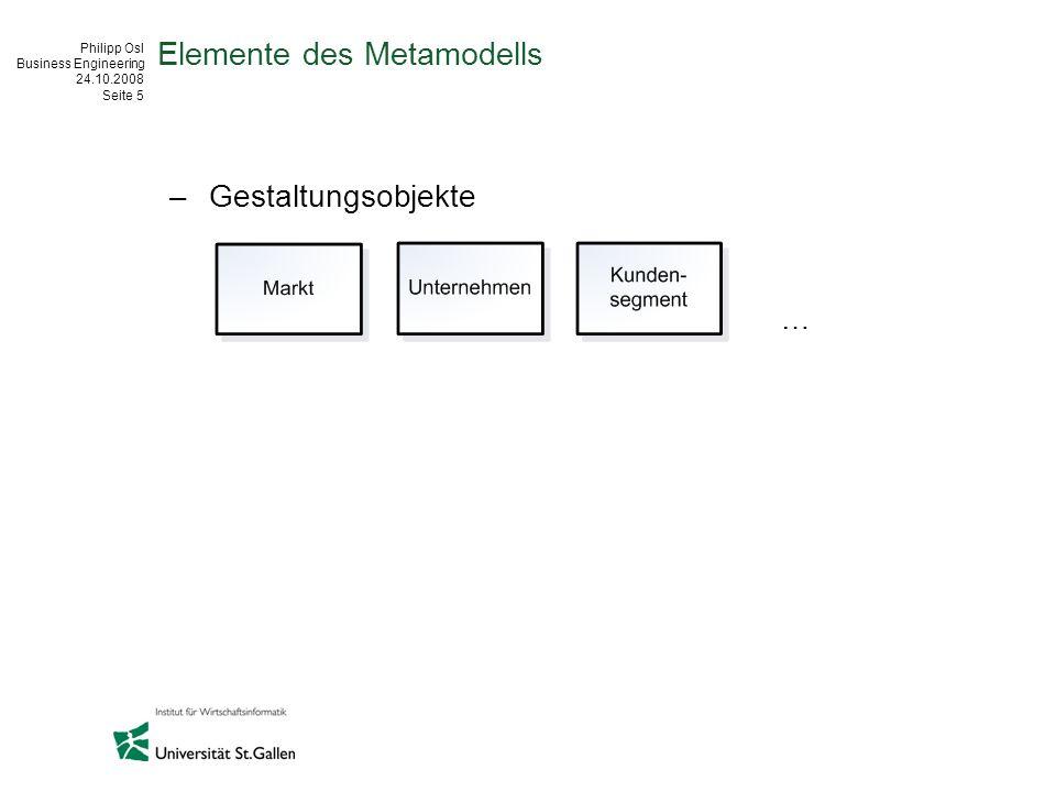 Philipp Osl Business Engineering 24.10.2008 Seite 5 Elemente des Metamodells –Gestaltungsobjekte …